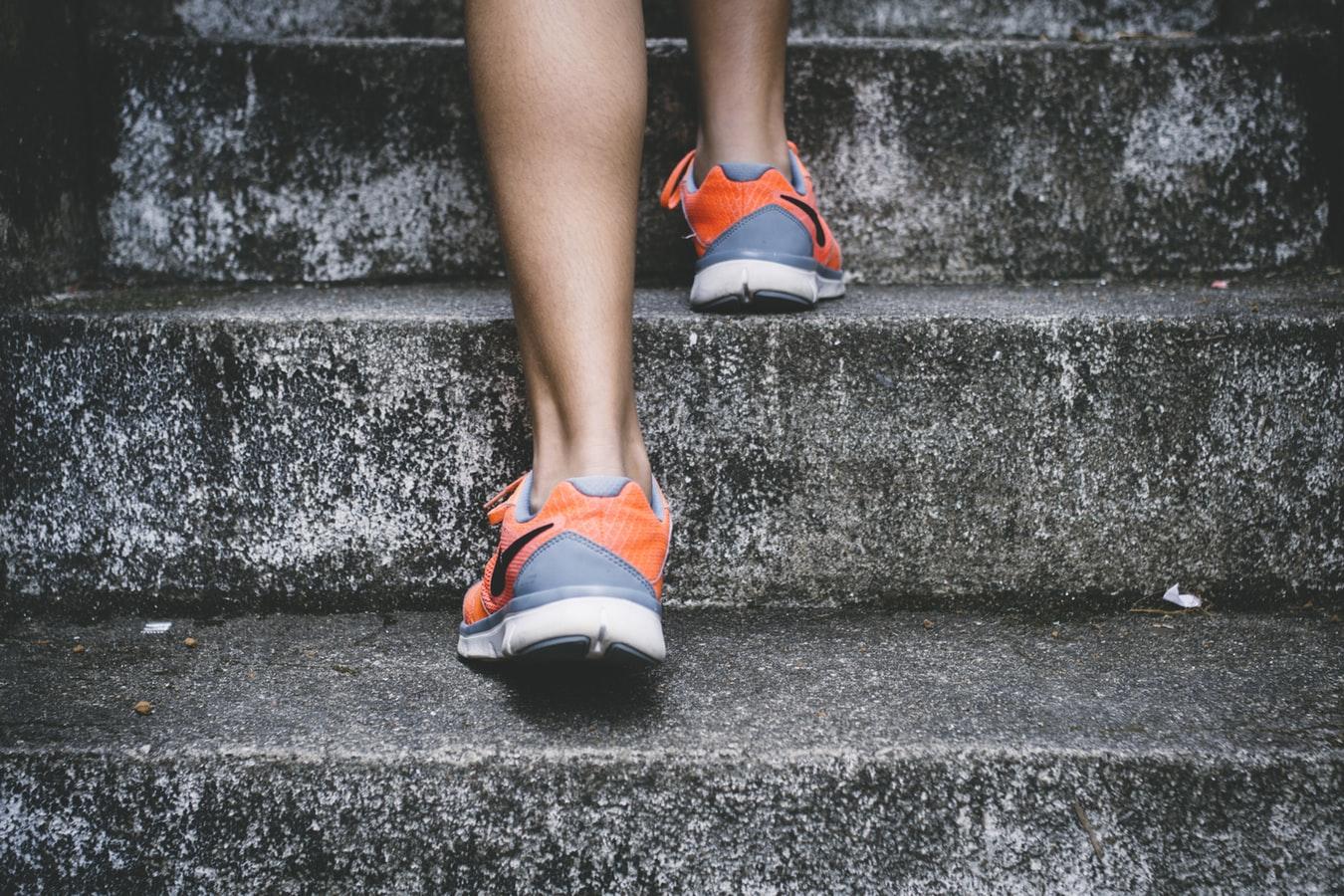 image of walking up stairs